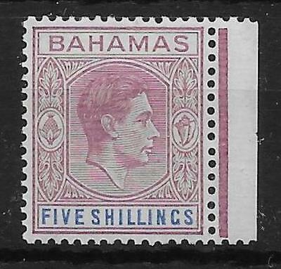 BAHAMAS SG156a 1942 5/= DULL ROSE-LILAC & BLUE THIN STRIATED PAPER MTD MINT