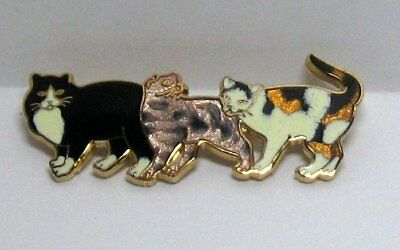 "Enamel ""3 Cats Pin Brooch"" Black Calico Brown Cat Lover"