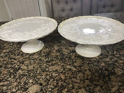 Lot 2 Vintage Ceramic White Porcelain Cake Stands Made In Italy Holiday