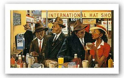 Monday Morning on Commerce Street Ernest Watson African American Art Print 10x6
