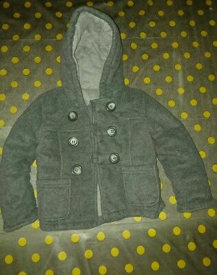 Boys Grey Duffle Coat 11/2-2 Years 18-24 months smart winter warm hood1.5-2 pock