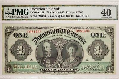 1911 Dominion Of Canada DC-18a $1 Series A-C Printer ABNC PMG XF40 Item#T7210