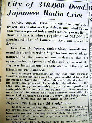 1945 WW II newspaper HIROSHIMA JAPAN OBLITERATED as 1st ATOMIC BOMB is DROPPED