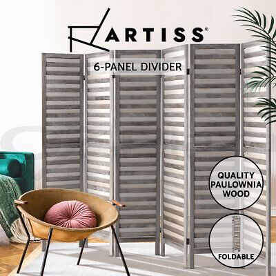 Artiss 6 Panel Room Divider Screen Privacy Wood Foldable Timber Stand Grey 170cm