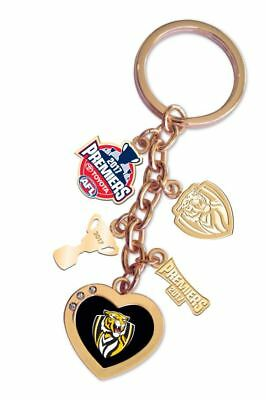333247 Richmond Tigers Afl 2017 Premiers Team Charm Logo Heart Key Ring Chain