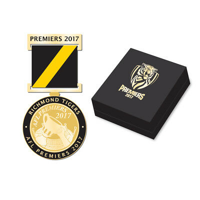 333244 Richmond Tigers 2017 Afl Premiers Boxed Medal With Ribbon Pin Badge Lapel