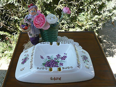 BEAU CENDRIER PORCELAINE  DECOR VIOLETTE  bol  ASHTRA PERFECT CONDITION