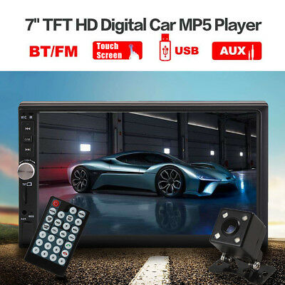 """7"""" Double 2DIN Car MP5 MP3 Player Bluetooth Touch Screen Stereo Radio HD +Camera"""