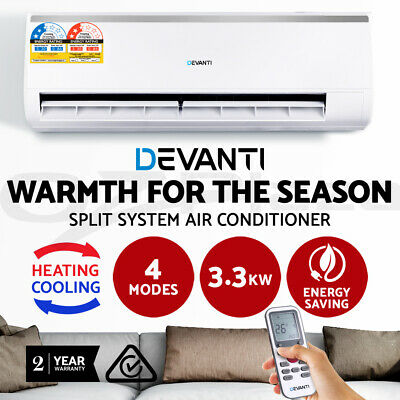 Devanti 3.3KW Split System Air Conditioner Cooler / Heater Reverse Cycle White