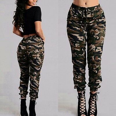 UK STOCK Women Stretch Waist Military Camouflage Casual Loose Long Pants Trouser
