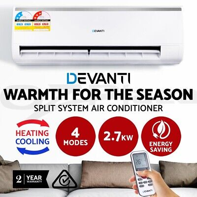 2.7KW Split System Air Conditioner Conditioning Cooling / Heater Reverse Cycle