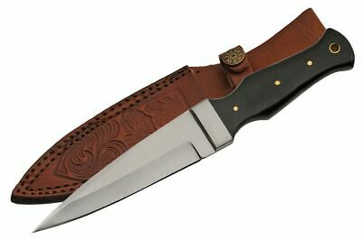 """Boot Knife   9"""" Overall Buffalo Horn Handle Tactical Blade + Leather Sheath"""