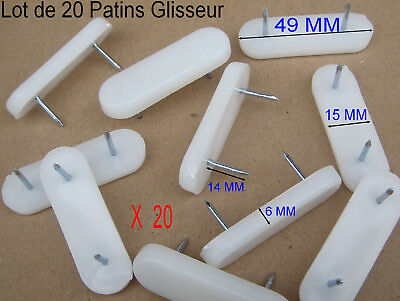 Lot de 20 Patins Glisseur Barrette Blanc à clouer,Long 49 mm,Larg 15,,épais 6 mm
