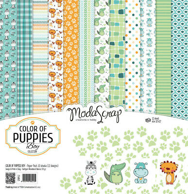 Elizabeth Craft Designs Modascrap 6x6 Inch Paper Pad Color Of Puppies Boys