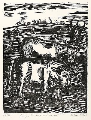 Lothar Sell - The Deer and the Bull - Woodcut 1993