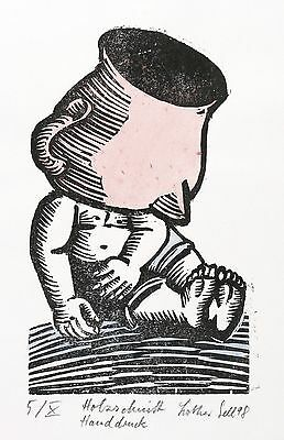 Lothar Sell - Is The Wine in the Mens - Colored Woodcut 1998