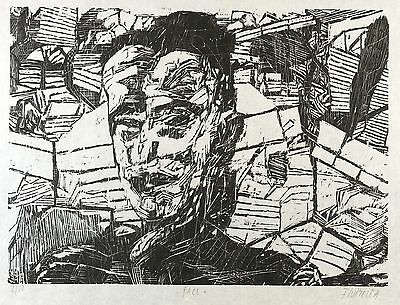 Frank Wahle - Face - Woodcut 1989
