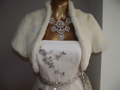 Coast Ivory Faux Fur Bridal Wedding Bolero Dress Shrug & Brooch M/l 14-16-18 £89
