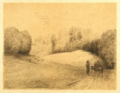 Wilhelm Steinhausen - Hikers in the Meadow Valley - tonlithografie 1879