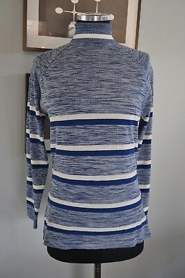 Vintage Montgomery Wards Unisex Polyester Top Heathered Blue and White 1960's