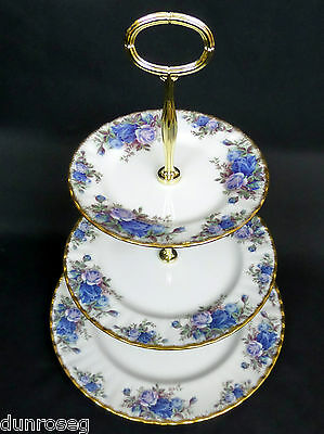 MOONLIGHT ROSE 3-TIER CAKE STAND, 1st QLTY, VGC, 1987-2002, ENGLAND ROYAL ALBERT