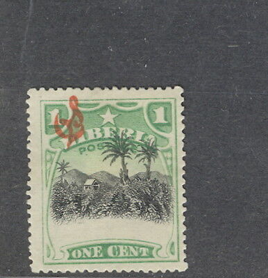 Liberia 1909, 1c coffee plantation, HUGE shift of center #O59