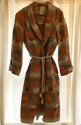 VTG 1930s 1940s Beacon Style Blanket Ombre Wool Mens Robe W/Buttons Art Deco