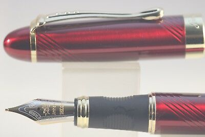 Jinhao x450 Carved Red Twist Medium Fountain Pen with Gold Trim, UK Seller