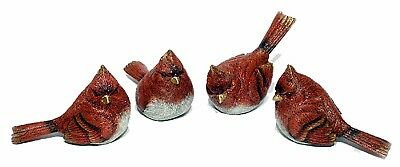 """Red Cardinal Resin Glitter Set/4 Christmas Holiday Home Decor 7"""" NEW X1837"""