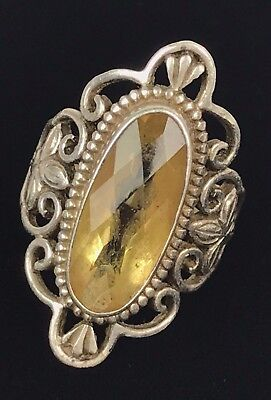 Vintage Estate Sterling Silver 925 Napal Yellow Stone Filigree Ring Size 7 8.5G