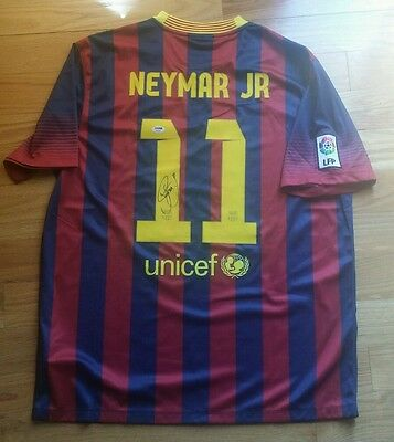 the latest e06ac f04c5 NEYMAR JR. SIGNED FC BARCELONA Jersey PSA DNA Autograph Junior FCB RARE!!  Brazil