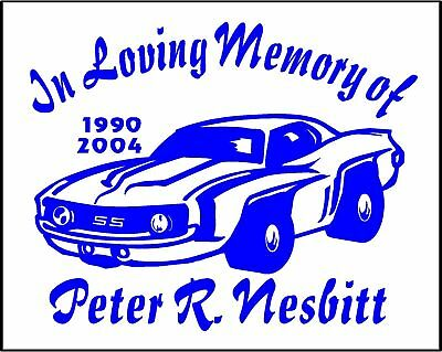 In Loving Memory Car Decals >> In Loving Memory Of Camaro Car Decals Two Custom Name Date Car Vinyl Stickers