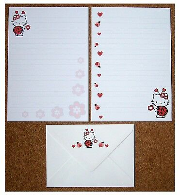 Hello Kitty Ladybird Ladybug Letter Writing Paper Stationery Set