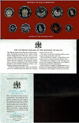 Malta 10-Coin Proof Set 1979 In Case Scarce With Silver Pound Coin