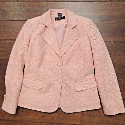 Dialogue Light Pink Lace Blazer Jacket Sz XS