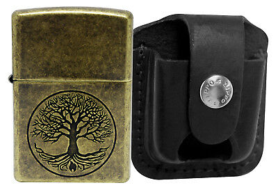 Zippo 29149 Tree of Life Antique Brass Lighter + LPTBK Black Leather Pouch Clip