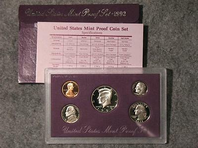 1992-S United States Proof Coin Set - Half Quarter Dime Nickel & Cent