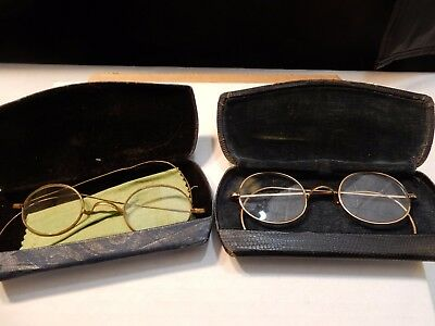 Antique Vintage Gold Tone Wire-Rim Eyeglasses with case two pair
