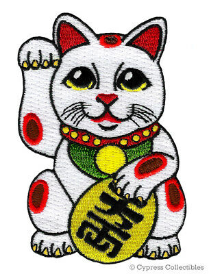 MANEKI NEKO IRON-ON PATCH embroidered JAPANESE GOOD LUCK CAT LUCKY CHARM FORTUNE