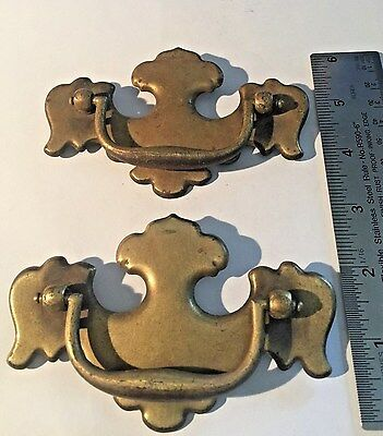 2 Vintage Brass Drawer Pulls 4 1/2 X3 (Span Of 3 Inches)
