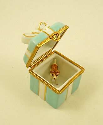 New French Limoges Trinket Box Turquoise Gift Box W Jack Russell Terrier Dog