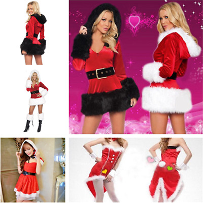 Women Sexy Outfit Santa Dress Suit Costume Xmas Party Fancy Christmas Gift
