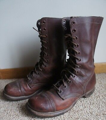 RARE Vtg 1940's WWII Herman US Military Paratrooper Jump Boots Brown Sz 11 B