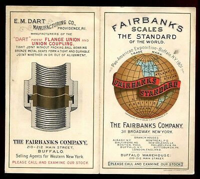 1901 PAN AMERICAN EXPOSITION Color Litho FAIRBANKS SCALES Folding Trade Card