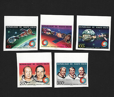OPC 1975 Burkina Faso Apollo Soyuz Space Imperf Set Sc#370-1 C216-18 MNH