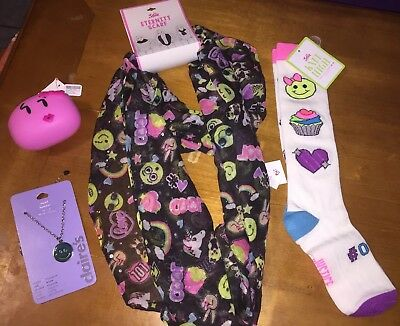 Claire's Justice Emoji Scarf Socks Mood Necklace Coin Purse Lot cupcake Nwt