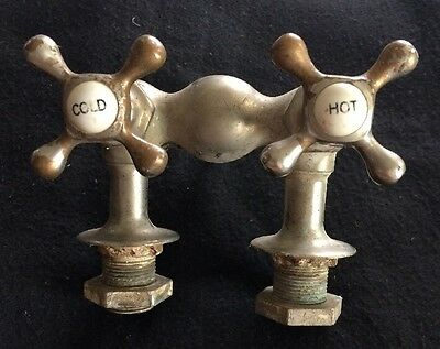 Antique Hot Cold Cross Faucet With Porcelain Centers~Claw Foot Bathtub~NOT REPOP