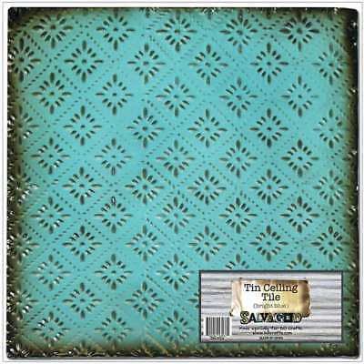"""Salvaged Tin Ceiling Tile 12""""X12"""" Bright Blue Rosette 700254535371"""