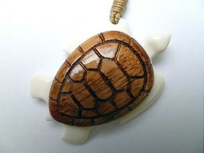 27.5Mm Composite Koa Wood Water Buffalo Bone Hawaiian Honu Sea Turtle Necklace