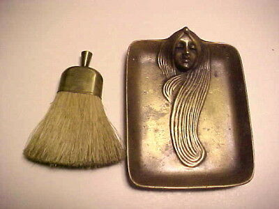 "Rare Art Deco ""Nouveau"" Lady Bronze Crumb Tray and Brush - S.F.Estate"